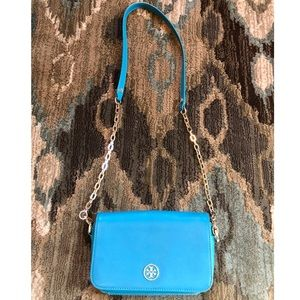 Tory Burch Turquoise Leather Crossbody Purse
